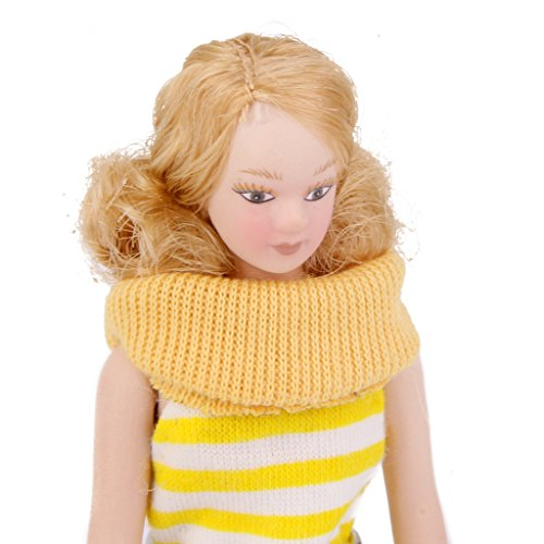 CUTICATE 1/12 Scale Porcelain Doll with Costumes and Display Stand, Dollhouse Miniature People Lady/ Girl/ Boy/ Man/ Woman Figures Decoration - Woman in Yellow Dress -