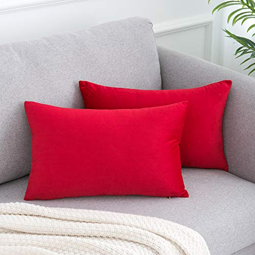 WLNUI Soft Velvet Valentines Day Red Throw Pillow Covers Set of 2 Decorative Pillow Case Lumbar Cushion Cover for Sofa Couch Home Farmhouse Decor 12x20 Inch 30x50 cm (Turquoise Christmas Red)