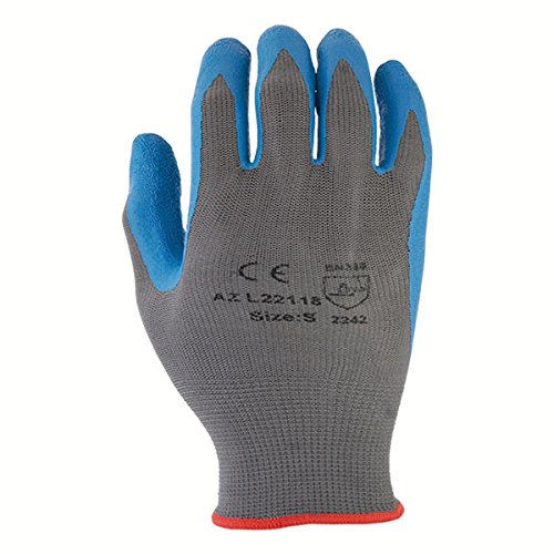 Azusa Safety L22118 13 gauge Knit Nylon Work Safety Gloves, Latex Coated Textured Crinkle Finish X-Large 10'', Blue/Gray