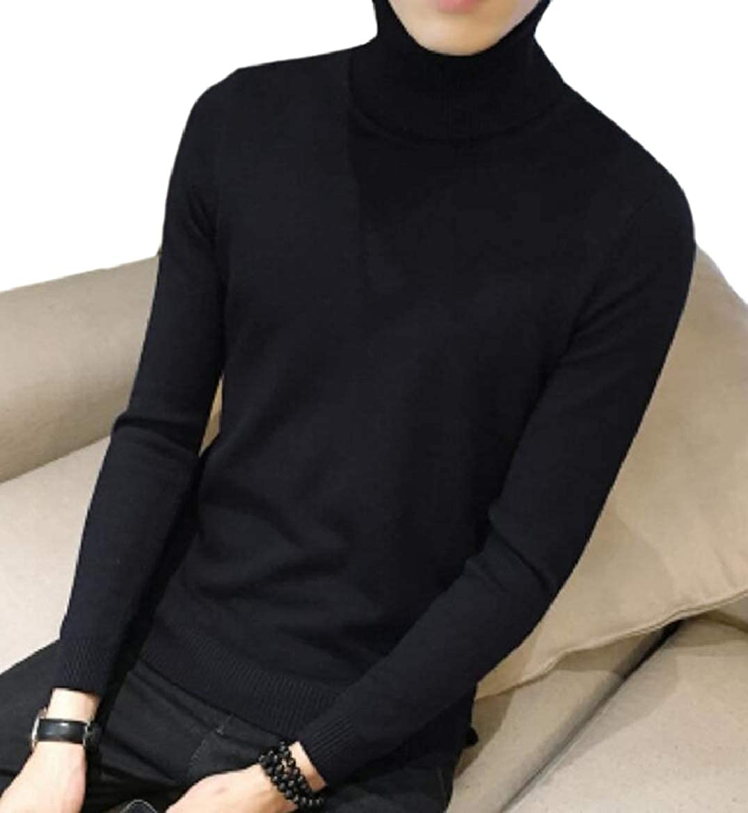 RRINSINS Mens Simple High Neck Knit Pullover Bodycon Thermal Soft Sweaters