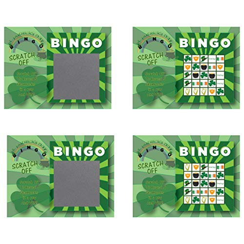 St. Patrick's Day Scratch-Off Bingo Cards, Family/Party Casino Games, Pack of 26 ()