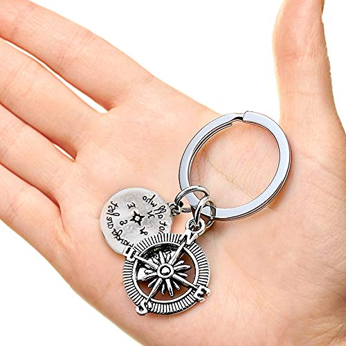 - Stainless Steel Compass Keychain for Graduation Birthday Festival Gift - Not All Who Wander are Lost Charm Key Chain