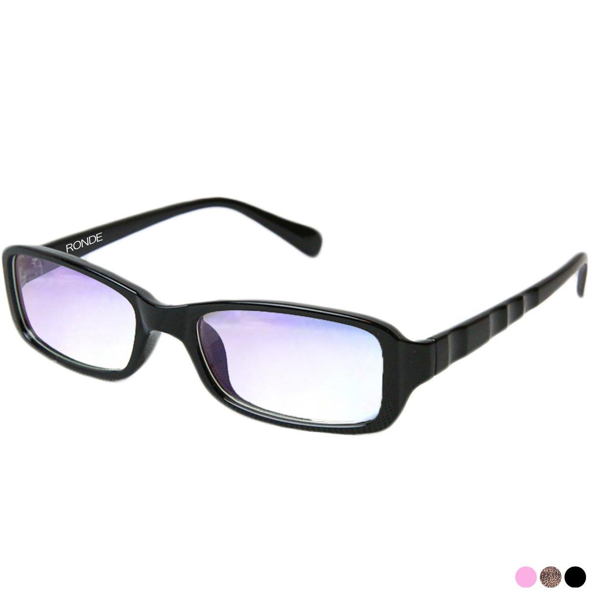 RONDE ブルーライトカット 眼鏡 パソコン用メガネ PCメガネ レディース ファッションメガネレディース キッズ 子供用 ケース付き ブラックの画像