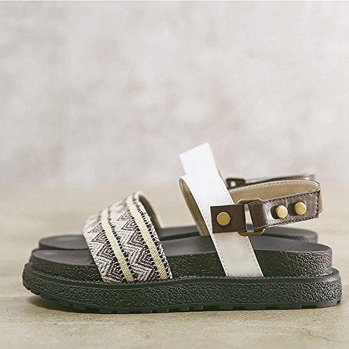 CYBLING Women Flatform Sandals Summer Chunky Peep Toe Fashion Thick Bottom Sandal Flats Brown fuBKrOzd