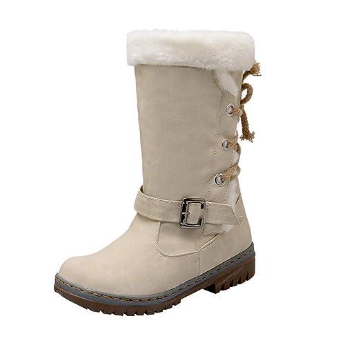 ALIKEEY Inverno Classico Moda Donna Stivali da Neve Moda Tacchi Piatti  Scarpe Invernali Caldi Stivali di 32a2565d38b