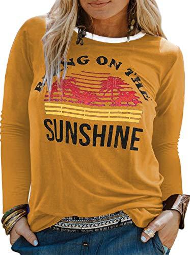 YASAKO Plus Size Women Tops Long Sleeve T Shirts Casual Tee Shirts Cute Graphic Tunic, Yellow, 3X-Large