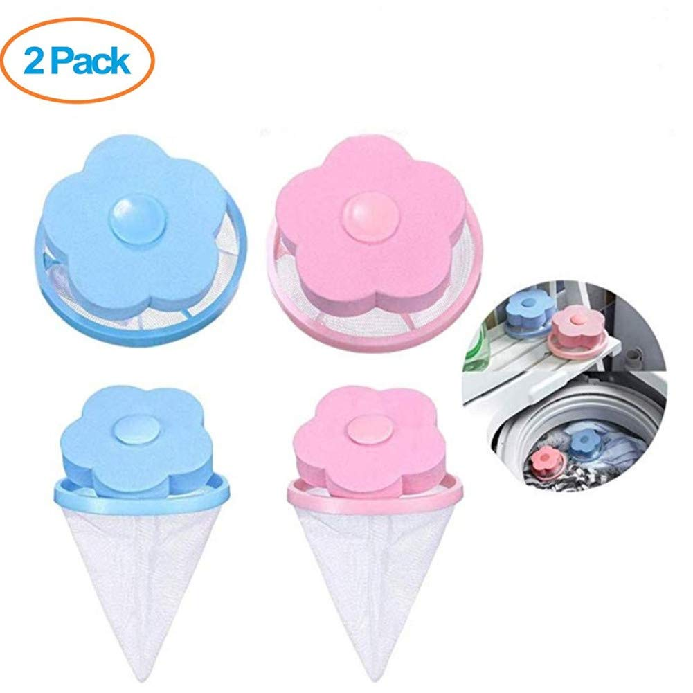 2Pcs Washing Machine Universal Float Bag, Laundry Ball, Filter Bag Laundry Ball, Floating Pet Fur Catcher Filter Hair Removal Equipment Wool Cleaning Supplies (Blue 1Pcs& Pink 1 Pcs)