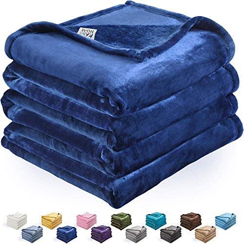 Silky Blanket Fleece (kawahome Navy Blue Twin Flannel Fleece Luxury Blanket Super Soft Plush Microfiber Solid Christmas Cozy Fuzzy Blanket for Bed Lightweight Couch/Sofa Blanket (66 x 90 Inch))