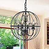 Cheap Benita Antique Black Metal Orb Crystal Chandelier