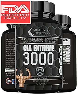 ** EXTREME CLA FAT BURNER ** Fast Acting CLA Fat Burning Supplement - Cla Safflower Oil Weight Loss - Fat Burner For Men & Women – Best CLA 1250 – Top Rated CLA Safflower Oil