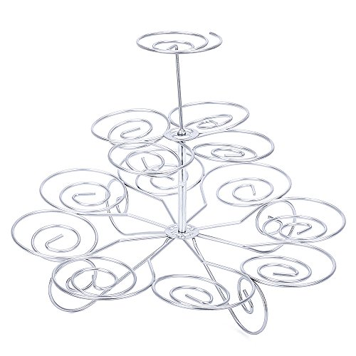 Magicook Metal Cupcake Stand for Birthdays and Other Occasions Detachable 3 Tier Cupcake Holder Spiral Swirls Cupcake Holder Stand, Table Decoration Centerpiece Cupcake Display Stand (Medium)