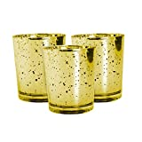 Royal Imports Mercury Speckled Glass Votive Tealight Candle Holder for Weddings, Parties, Holiday & Home Decor, Gold, Set of 6 - unfilled