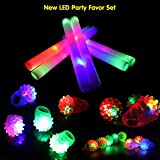 LifBetter 12 PCS LED Bumpy Rings, with 12 PCS LED Foam Glow Sticks, Flashing Glow in The Dark Party Supplies Perfect for Wedding Birthday Festive Party Decoration 24 Pack