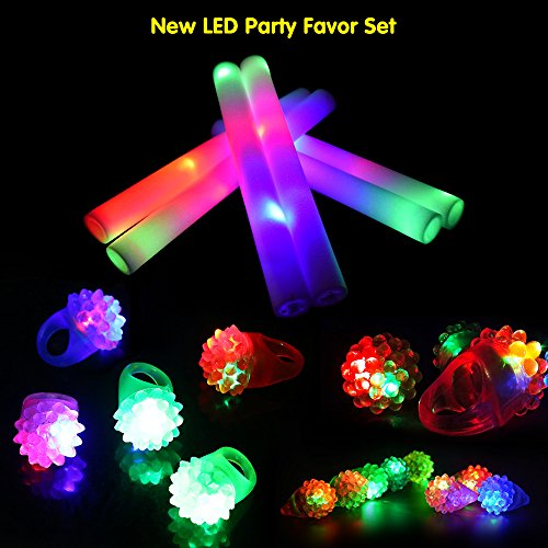 LifBetter 12 PCS LED Bumpy Rings, with 12 PCS LED Foam Glow Sticks, Flashing Glow in The Dark Party Supplies Perfect for Wedding Birthday Festive Party Decoration 24 Pack by LifBetter