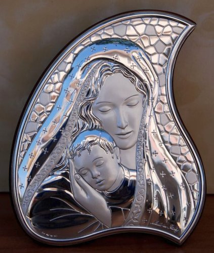 FavorOnline Italian Argento Madonna and Child Full Silver Icon on Tear Drop Wood Stand - Large