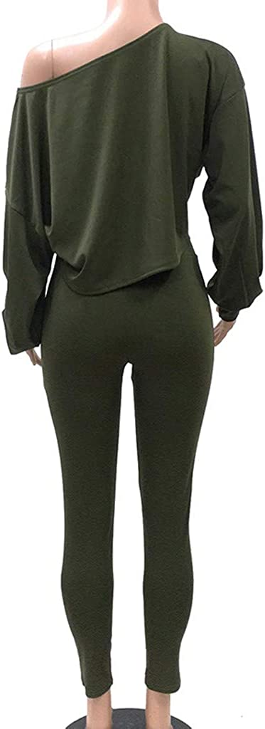 Womens Off Shoulder Sweatshirt Long Lantern Sleeve Crop Tops High Waist Bodycon Pants Set 2 Piece Outfit