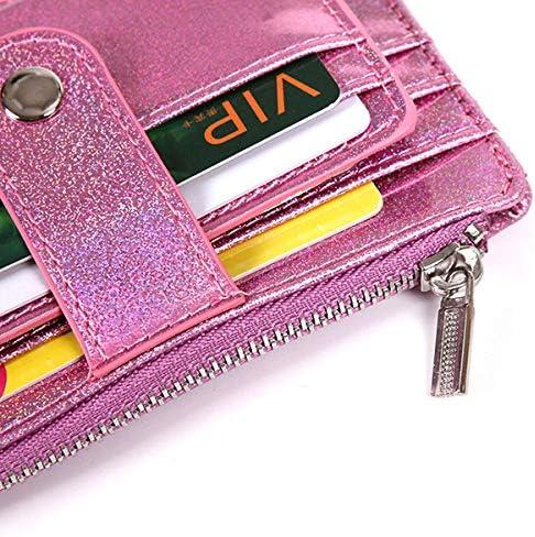 女性レーザー6カードスロット薄い財布かわいい小銭入れカードホルダー YZUEYT