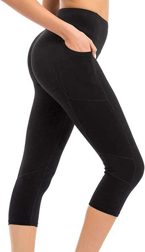 coastal rose Womens Yoga Pants 3/4 Workout Leggings Crop Sports Tights with Side Pocket