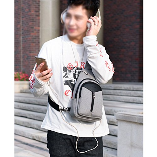 Rope Shoulder Daypack Sling Charging Crossbody Sxelodie Gray Backpack Men For Women Usb Bag Chest amp; With Bags Port wxtEAqp