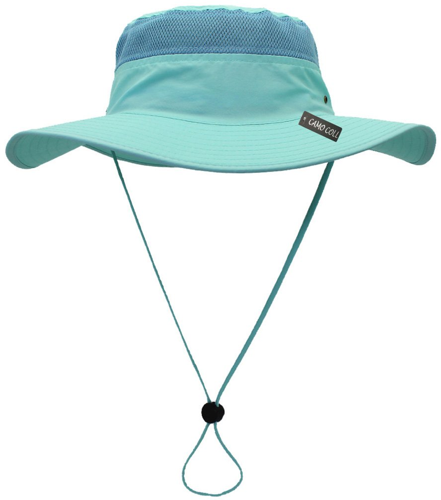 Camo Coll Outdoor UPF 50+ Boonie Hat Summer Sun Caps (One Size, Aqua)