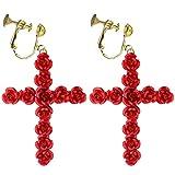 Fashion Baroque Clip on Earrings Screw Back Red Rose Flower Beautiful Cross Dangle for Girls Women