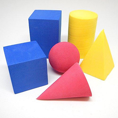 hand2mind Foam Geometric Solid Blocks, Assorted Colors, 3D Shapes (Set of 6)