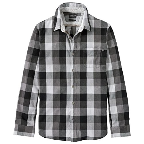 Timberland Men's Back River Brushed Oxford Check Shirt Black L (Check Timberland)
