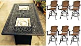 7 Piece Fire Pit Patio Dining Outdoor Bar Set Santa Clara Swivels Barstools Propane Table Cast Aluminum Wicker Furniture Review