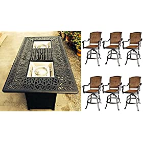 7 Piece Fire Pit Patio Dining Outdoor Bar Set Santa Clara Swivels Barstools Propane Table Cast Alumi