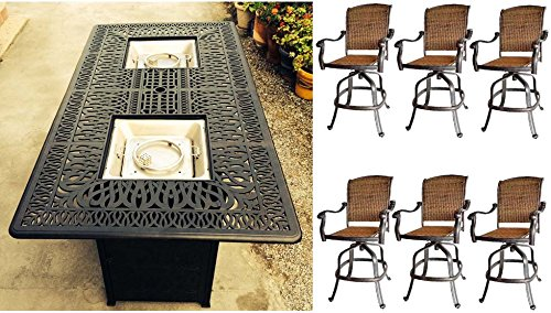 7 Piece Fire Pit Patio Dining Outdoor Bar Set Santa Clara Swivels Barstools Propane Table Cast Aluminum Wicker Furniture
