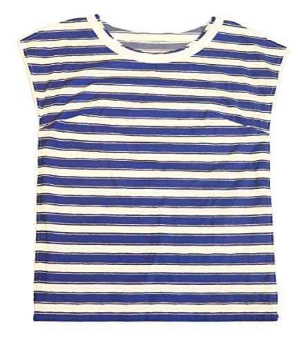 Dolce & Gabbana Blue and White Striped Cotton Cap Sleeve Blouse 6