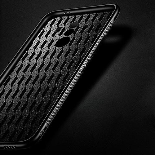 Funda para Huawei Honor View 10, Solid Color SXUUXB Huawei Honor View 10 [3 en 1] Elegante Paragolpes Slim + Plástico Duro para PC Espalda + Tapa de Vidrio Templado Antideslizante Protector Caja para  Negro