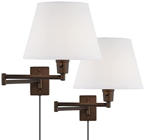 Clement Plug In Swing Arm Wall Lamp Set Of 2 In Bronze