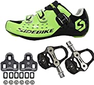 21Grams SIDEBIKE Men's Cycling Shoes,Breathable Cushioning Road Bike Shoes with Pedals &