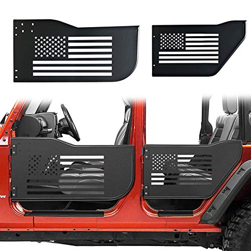 Bolaxin Front & Rear Half Tube Door for 2007~2018 Jeep Wrangler JK Unlimited 4 Doors USA Flag Logo Tubular Door ()