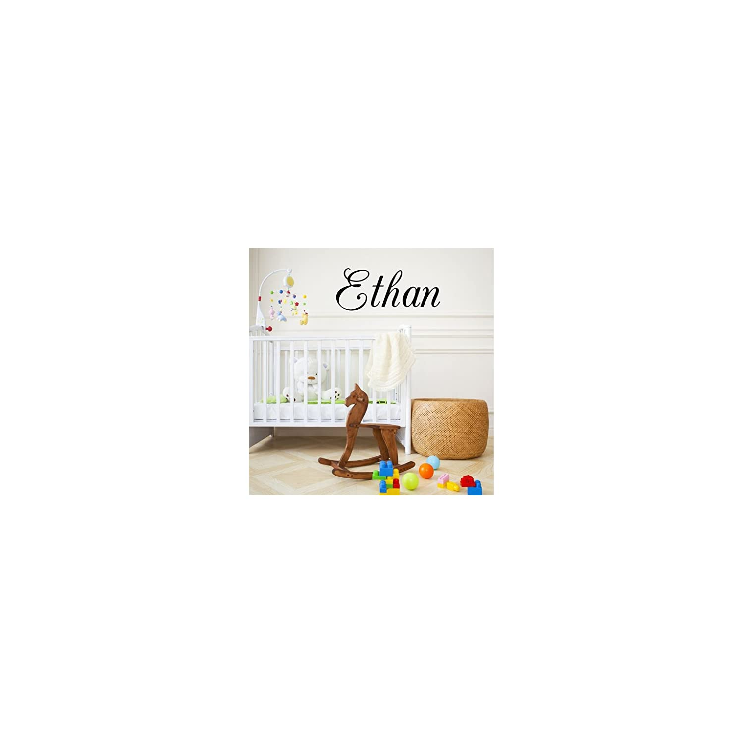 Boys Nursery Personalized Custom Name Vinyl Wall Art Decal Sticker 28″ W, Boy Name Decal, Boys Name, Nursery Name, Boys Name Decor Wall Decals, Boy's Bedroom Decor, Plus Free 12″ Hello Door Decal