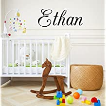 "Boys Nursery Personalized Custom Name Vinyl Wall Art Decal Sticker 28"" W, Boy Name Decal, Boys Name, Nursery Name, Boys Name Decor Wall Decals, Boy's Bedroom Decor, PLUS FREE 12"" HELLO DOOR DECAL"