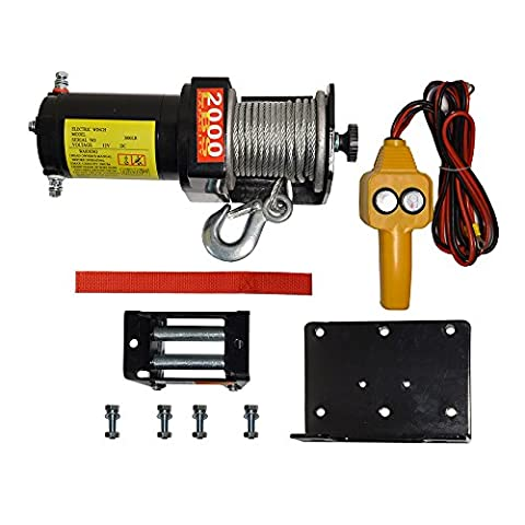 A&K 2000 LB Recovery Winch Kit Electric 12V Volt ATV UTV Snow Boat Truck Trailer Plow Off Road w/Mounting Plate