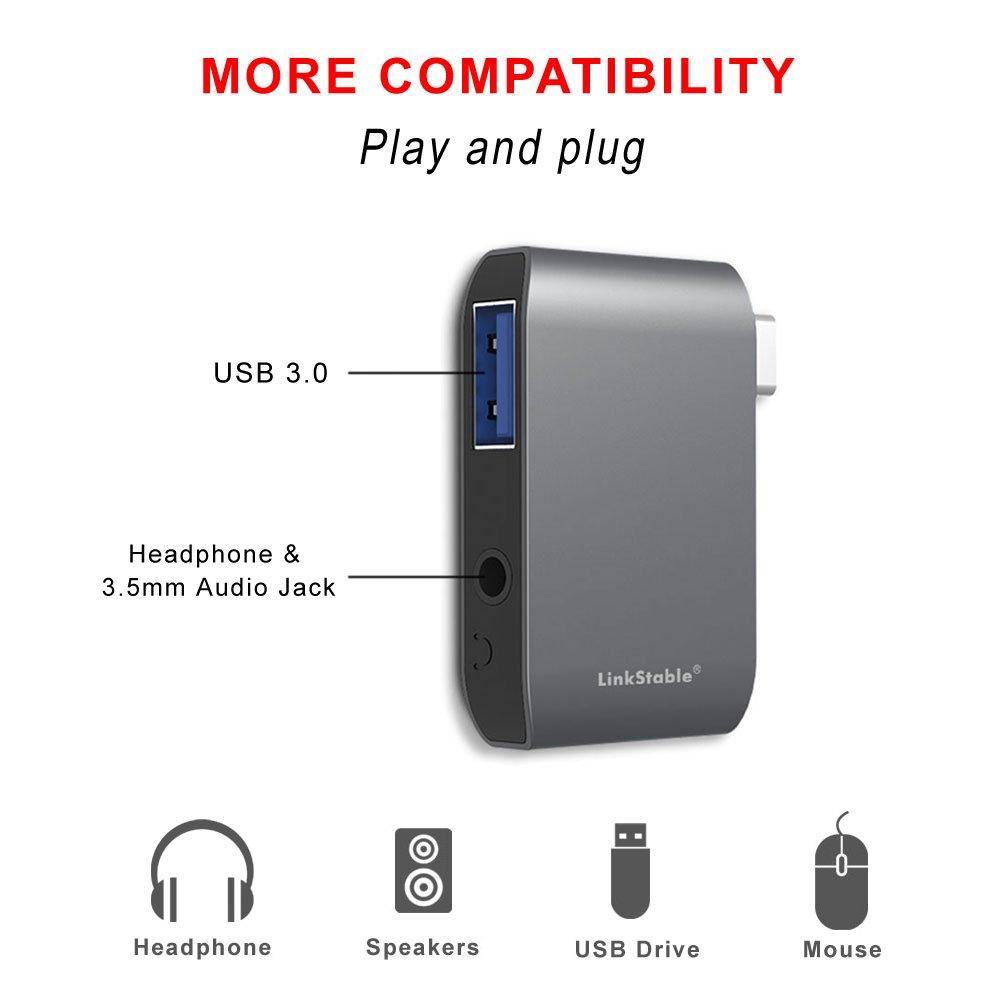 LinkStable USB tipo C estéreo adaptador de Audio tarjeta de sonido ...
