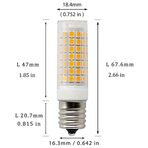 E17 LED Bulb for Microwave Oven Over Stove Appliance, 7 Watt(70W Halogen Bulbs Equivalent), 110-120V, Intermediate Base, Dimmable, 2-Pack (Warm White) ...