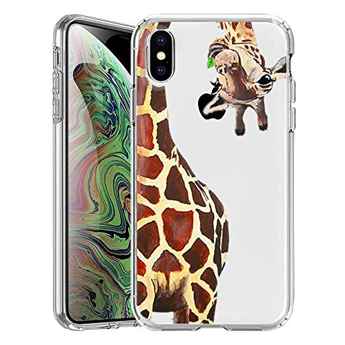 iPhone Xs MAX Case, Giraffe Pattern Printed Clear Design Transparent Slim fit Shock-Absorbing Soft Rubber TPU Skin Protective Case Cover for iPhone Xs MAX 6.5 inch