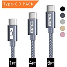 USB Type C Cable, BRG USB C Cable (USB 2.0) 3 Pack (1ft,4ft,6ft) Nylon Braided Fast Charger Cord for Samsung S9 Galaxy Note8 S8 Plus, LG G6 G5 V20,Moto Z2,Google Pixel,New Macbook and More, Space Gray