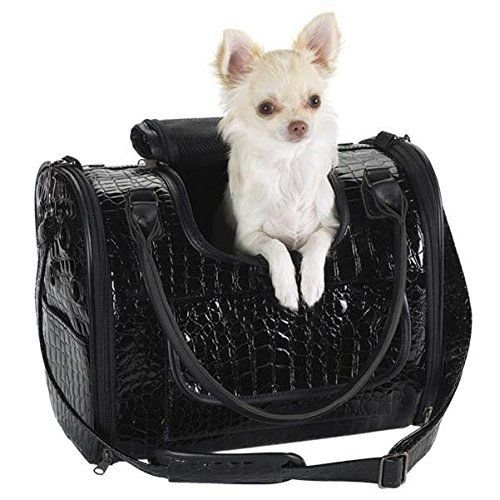 Fashion Faux Crocodile Pet Dog Cat Carrier/Tote/ Travel Handbag Black ZACK ZOEY,Fashionable faux-crocodile look with rhinestone-studded bone charm accent. (Small)