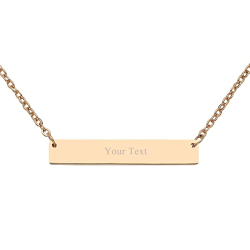 984da8757a Jovivi Free Engraving- Personalized Custom Stainless Steel Bar Necklace  Simple Horizontal Bar Necklace,with