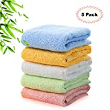 Kyapoo Bamboo Baby Washcloths Natural Towels Ultra Soft Hypoallergenic Perfect for Sensitive Skin Reusable Wipes 5 Pack
