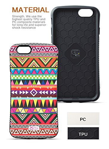 """iPhone 6 Case, OTTII Mod Aztec Case for iPhone 6 (4.7"""") - Tribal Geometric Pattern - 3D Embossed Painting Process - 2 Layer Shock Absorbing Design for Drop Protection + Scratch Resistance"""