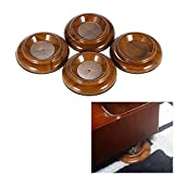Hardwood Color Piano Caster Furniture Round Wheel Cups Gripper Set Load Bearing ABS for Upright Piano [4 Pack]