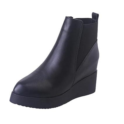 428e5d3a33 Amazon.com: Women's Ladies Short Ankle High Rain Thick Sole Winter Boots  Elastic Design Slip On Booties (US:7, Black): Musical Instruments