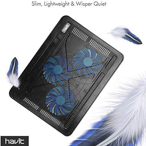 havit HV-F2056 15.6″-17″ Laptop Cooler Cooling Pad – Slim Portable USB Powered (3 Fans), Black/Blue