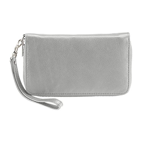 Lewis N. Clark RFID-Blocking Leather Phone Wristlet, Gray
